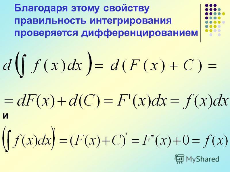 Благодаря этому свойству правильность интегрирования проверяется дифференцированием и