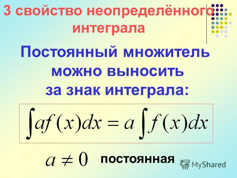 Постоянный множитель можно выносить за знак интеграла:, постоянная 3 свойство неопределённого интеграла