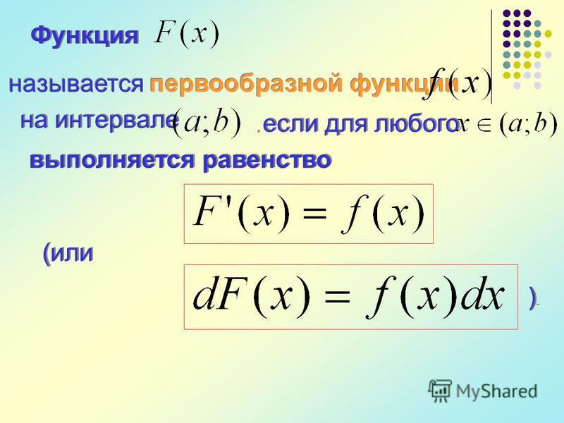 Функция называется первообразной функции на интервале, если для любого выполняется равенство (или ).). ).).