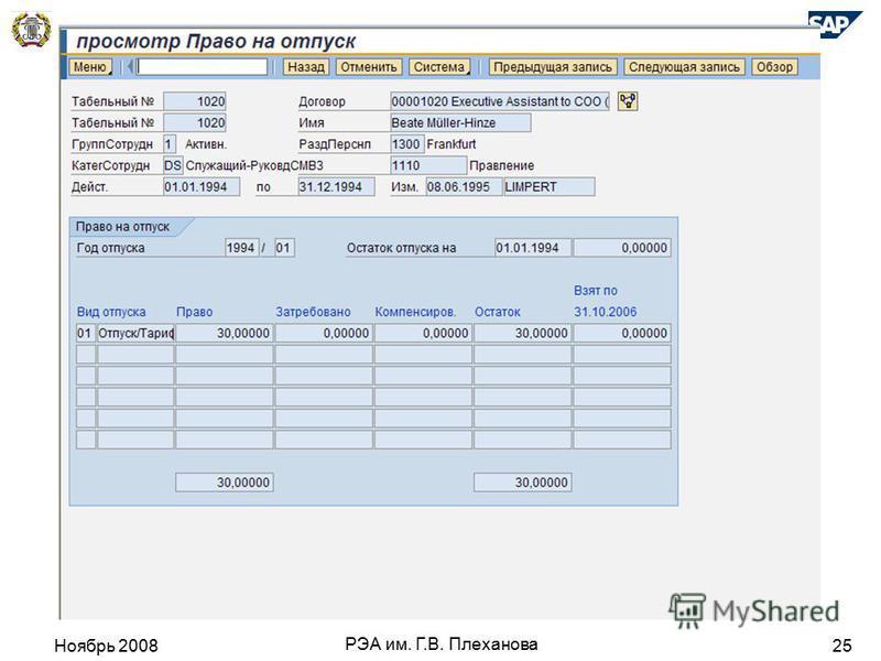 Ноябрь 2008 РЭА им. Г.В. Плеханова 25