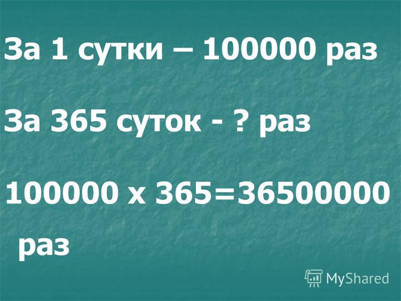 За 1 мин. – 4 л. За 60 мин. - ? Л. 4 х 60 = 240 (Л.)