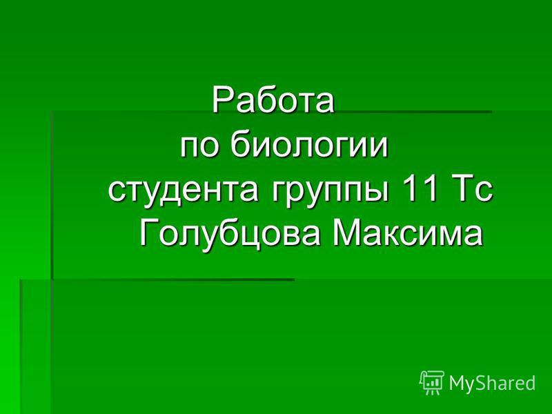 Работа по биологии студента группы 11 Тс Голубцова Максима Работа по биологии студента группы 11 Тс Голубцова Максима