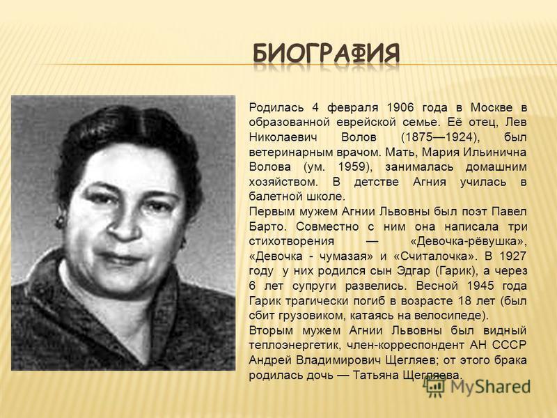 Родилась 4 февраля 1906 года в Москве в образованной еврейской семье. Её отец, Лев Николаевич Волов (18751924), был ветеринарным врачом. Мать, Мария Ильинична Волова (ум. 1959), занималась домашним хозяйством. В детстве Агния училась в балетной школе