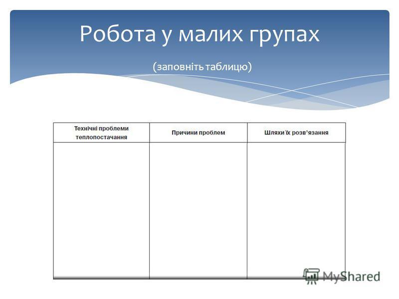 Робота у малих групах (заповніть таблицю)