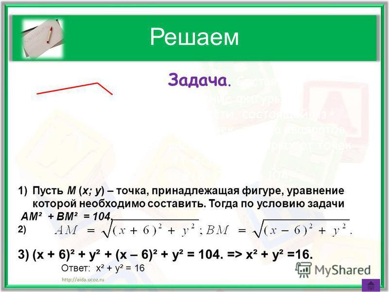 Решаем Задача. Составьте уравнение фигуры на плоскости, состоящей из всех точек, сумма квадратов расстояний которых от точек A (–6; 0) и B (6; 0) равна 104. Решение. x y OA B M 1)Пусть M (x; y) – точка, принадлежащая фигуре, уравнение которой необход