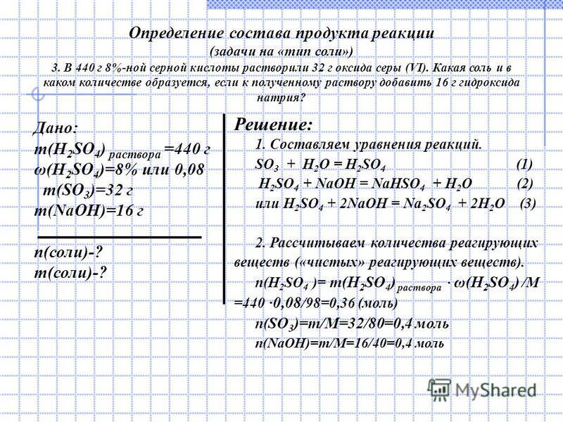 Определение состава продукта реакции (задачи на «тип соли») 3. В 440 г 8%-ной серной кислоты растворили 32 г оксида серы (VI). Какая соль и в каком количестве образуется, если к полученному раствору добавить 16 г гидроксида натрия? Дано: m(H 2 SO 4 )
