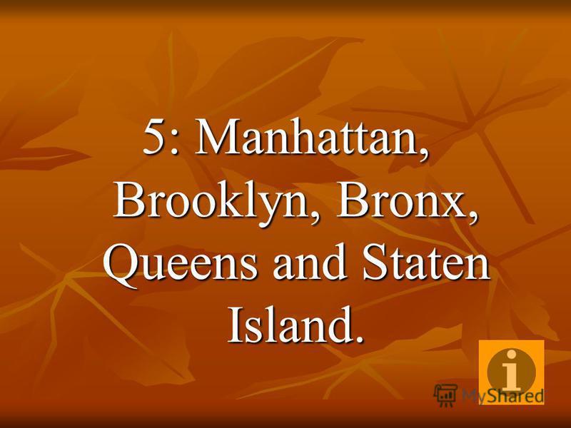 5: Manhattan, Brooklyn, Bronx, Queens and Staten Island.