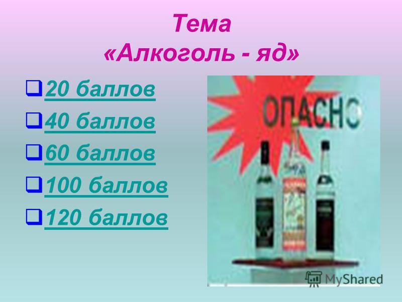 Тема «Алкоголь - яд» 20 баллов 40 баллов 60 баллов 100 баллов 120 баллов