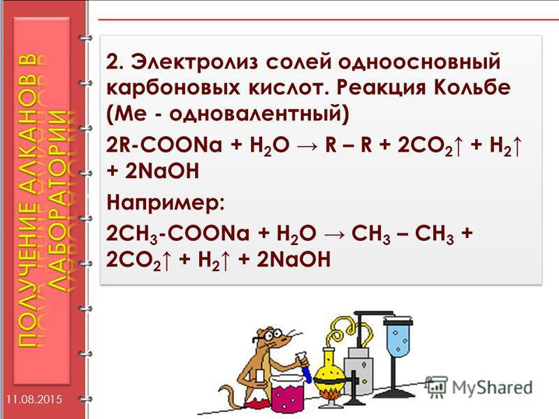 2. Электролиз солей одноосновный карбоновых кислот. Реакция Кольбе (Ме - одновалентный) 2R-COONa + H 2 O R – R + 2CO 2 + H 2 + 2NaOH Например: 2СН 3 -COONa + H 2 O СН 3 – СН 3 + 2CO 2 + H 2 + 2NaOH 2. Электролиз солей одноосновный карбоновых кислот.