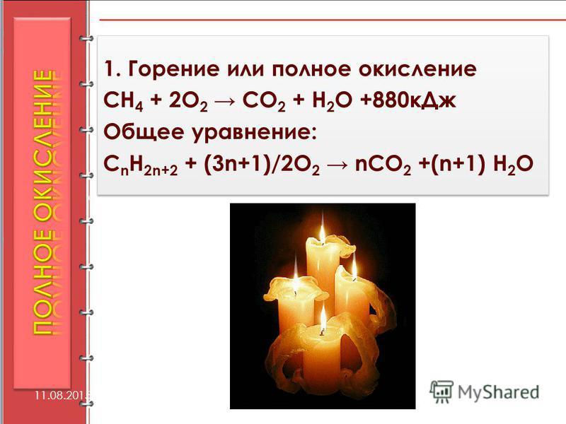 1. Горение или полное окисление СН 4 + 2О 2 СО 2 + Н 2 О +880 к Дж Общее уравнение: C n H 2n+2 + (3n+1)/2O 2 nCO 2 +(n+1) Н 2 О 1. Горение или полное окисление СН 4 + 2О 2 СО 2 + Н 2 О +880 к Дж Общее уравнение: C n H 2n+2 + (3n+1)/2O 2 nCO 2 +(n+1)