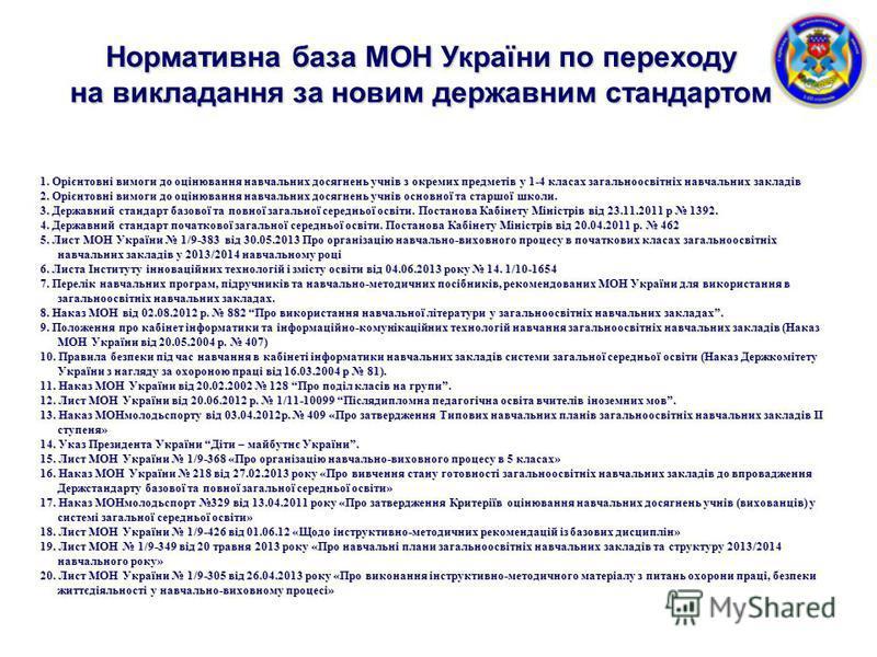 Нормативна база МОН України по переходу на викладання за новим державним стандартом 1. Орієнтовні вимоги до оцінювання навчальних досягнень учнів з окремих предметів у 1-4 класах загальноосвітніх навчальних закладів 2. Орієнтовні вимоги до оцінювання