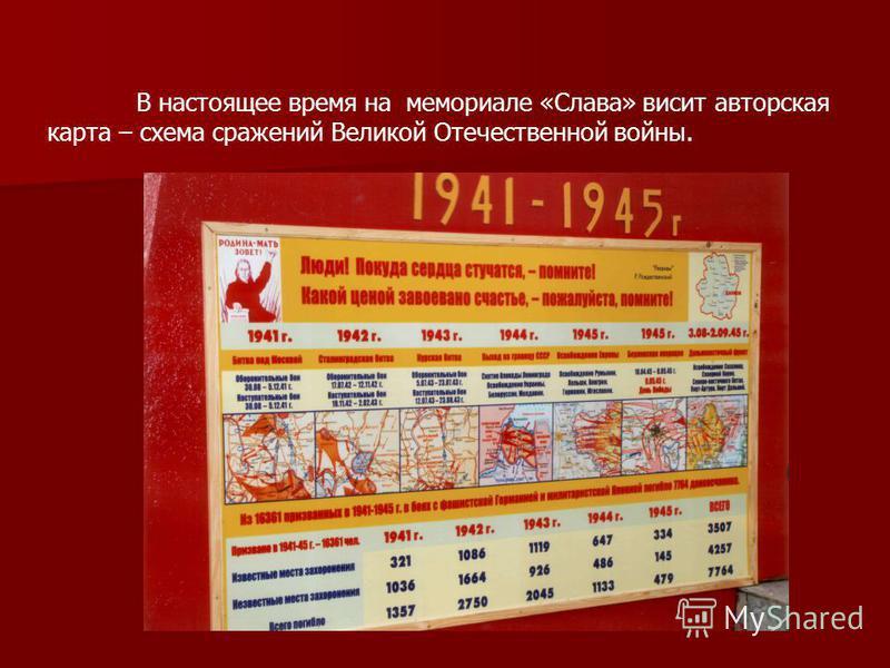 В настоящее время на мемориале «Слава» висит авторская карта – схема сражений Великой Отечественной войны.
