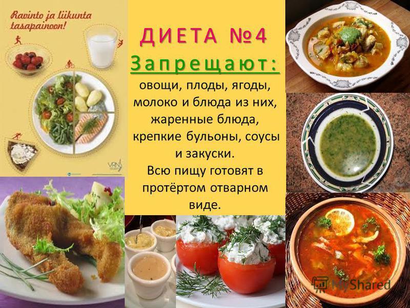 ДИЕТА 4 Запрещают: ДИЕТА 4 Запрещают: овощи, плоды, ягоды, молоко и блюда из них, жаренные блюда, крепкие бульоны, соусы и закуски. Всю пищу готовят в протёртом отварном виде.