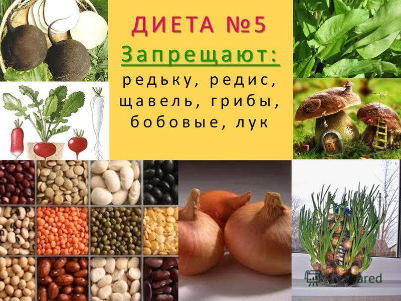 ДИЕТА 5 Запрещают: ДИЕТА 5 Запрещают: редьку, редис, щавель, грибы, бобовые, лук