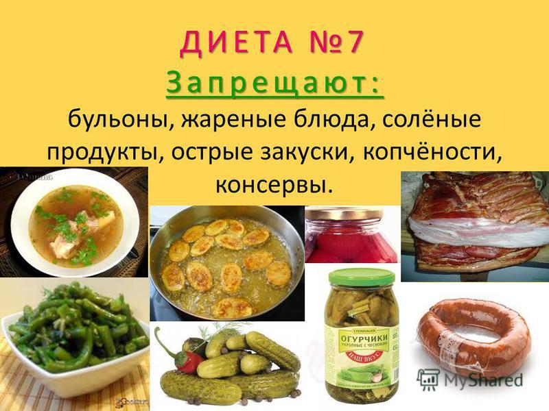 ДИЕТА 7 Запрещают: ДИЕТА 7 Запрещают: бульоны, жареные блюда, солёные продукты, острые закуски, копчёности, консервы.