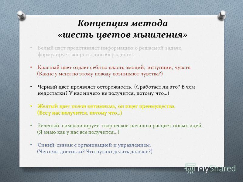 Концепция метода «шесть цветов мышления» Белый цвет представляет информацию о решаемой задаче, формулирует вопросы для обсуждения. Красный цвет отдает себя во власть эмоций, интуиции, чувств. (Какие у меня по этому поводу возникают чувства?) Черный ц