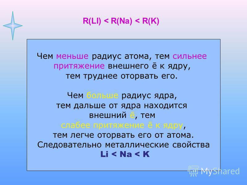 R(LI) < R(Na) < R(K) 2ē2ē1ē 8ē2ē1ē 8ē2ē8ē1ē Чем меньше радиус атома, тем сильнее притяжение внешнего ē к ядру, тем труднее оторвать его. Чем больше радиус ядра, тем дальше от ядра находится внешний ē, тем слабее притяжение ē к ядру, тем легче оторват