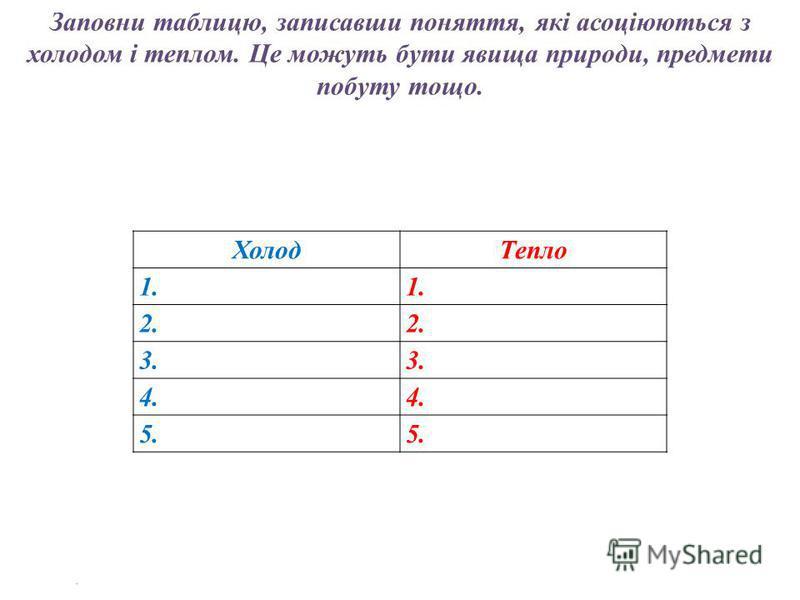 ХолодТепло 1. 2. 3. 4. 5. Заповни таблицю, записавши поняття, які асоціюються з холодом і теплом. Це можуть бути явища природи, предмети побуту тощо.