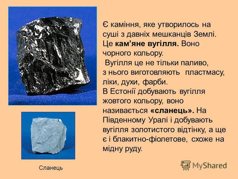 Є каміння, яке утворилось на суші з давніх мешканців Землі. Це камяне вугілля. Воно чорного кольору. Вугілля це не тільки паливо, з нього виготовляють пластмасу, ліки, духи, фарби. В Естонії добувають вугілля жовтого кольору, воно називається «сланец