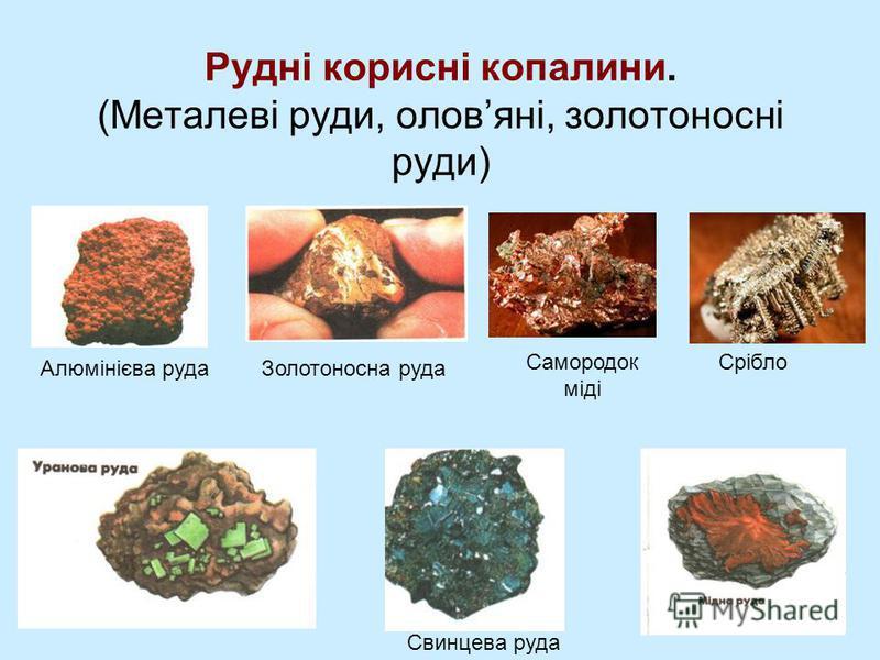 Рудні корисні копалини. (Металеві руди, оловяні, золотоносні руди) Свинцева руда Срібло Алюмінієва рудаЗолотоносна руда Самородок міді