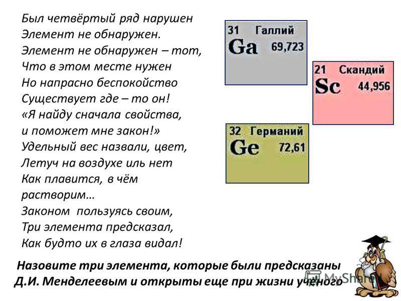 Назовите три элемента, которые были предсказаны Д.И. Менделеевым и открыты еще при жизни ученого Был четвёртый ряд нарушен Элемент не обнаружен. Элемент не обнаружен – тот, Что в этом месте нужен Но напрасно беспокойство Существует где – то он! «Я на