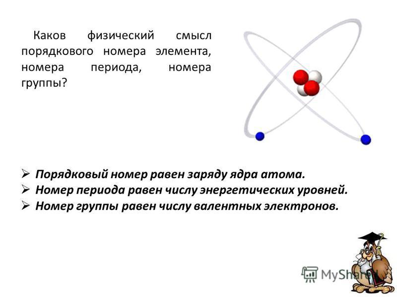 Порядковый номер равен заряду ядра атома. Номер периода равен числу энергетических уровней. Номер группы равен числу валентных электронов. Каков физический смысл порядкового номера элемента, номера периода, номера группы?
