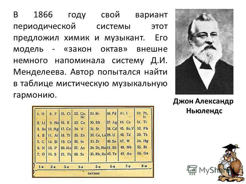 В 1866 году свой вариант периодической системы этот предложил химик и музыкант. Его модель - «закон октав» внешне немного напоминала систему Д.И. Менделеева. Автор попытался найти в таблице мистическую музыкальную гармонию. Джон Александр Ньюлендс