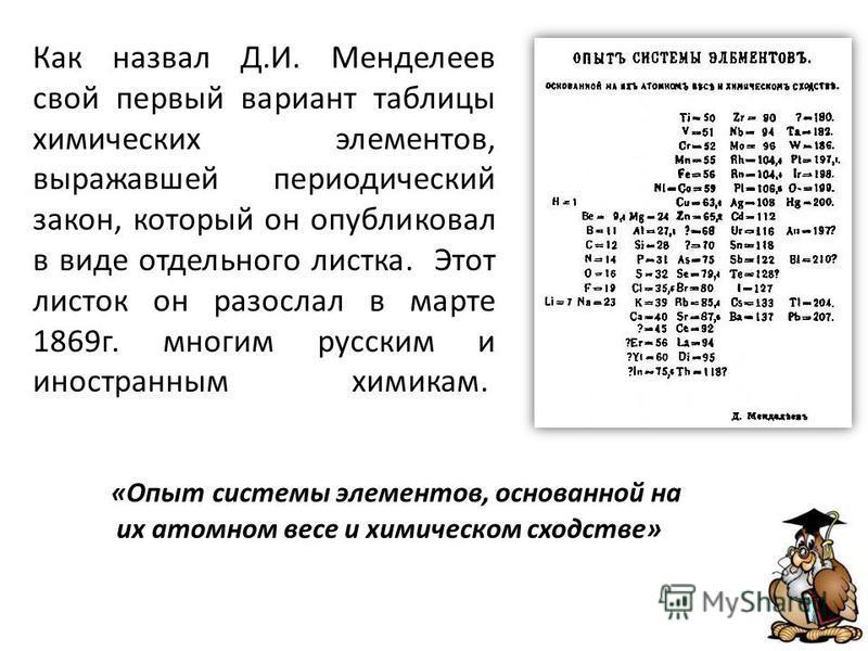 Как назвал Д.И. Менделеев свой первый вариант таблицы химических элементов, выражавшей периодический закон, который он опубликовал в виде отдельного листка. Этот листок он разослал в марте 1869 г. многим русским и иностранным химикам. «Опыт системы э