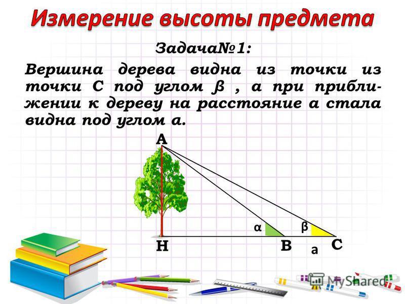 Задача 1: Вершина дерева видна из точки из точки С под углом β, а при приближении к дереву на расстояние а стала видна под углом α. A B C H α β а