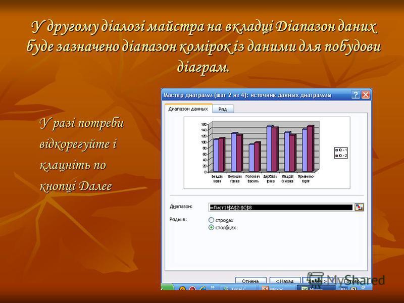 У другому діалозі майстра на вкладці Діапазон даних буде зазначено діапазон комірок із даними для побудови діаграм. У разі потреби відкорегуйте і клацніть по кнопці Далее