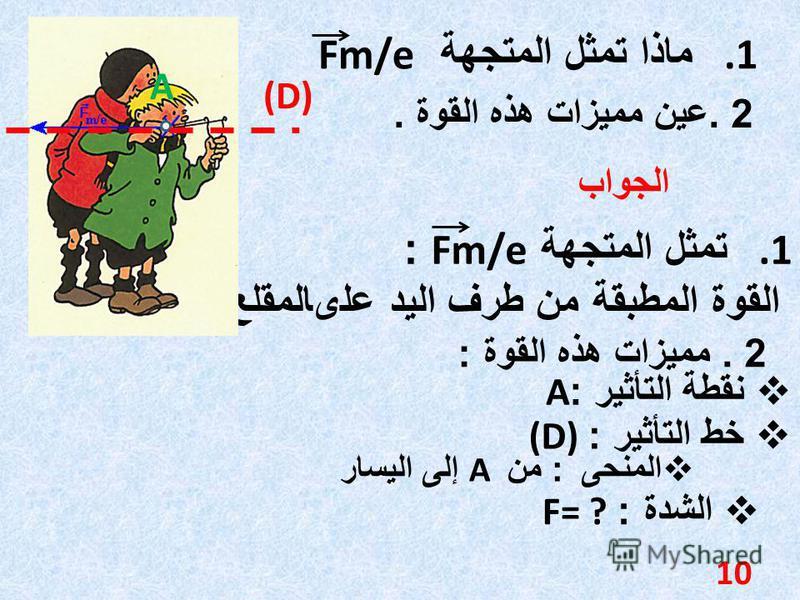 2. عين مميزات هذه القوة. 1. ماذا تمثل المتجهة Fm/e الجواب 1. تمثل المتجهة Fm/e : القوة المطبقة من طرف اليد علىالمقلع 2. مميزات هذه القوة : نقطة التأثير :A خط التأثير : (D) A (D) الشدة : F= ? 10 المنحى : من A إلى اليسار