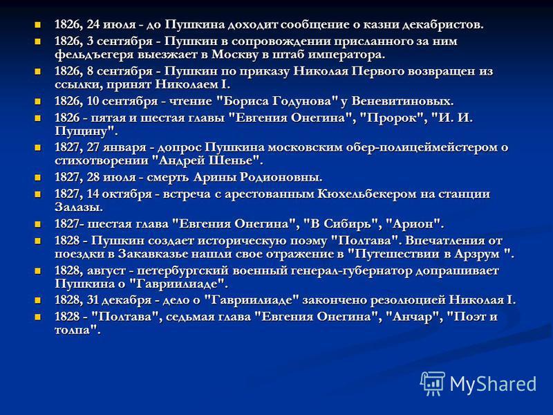 1826, 24 июля - до Пушкина доходит сообщение о казни декабристов. 1826, 3 сентября - Пушкин в сопровождении присланного за ним фельдъегеря выезжает в Москву в штаб императора. 1826, 8 сентября - Пушкин по приказу Николая Первого возвращен из ссылки,