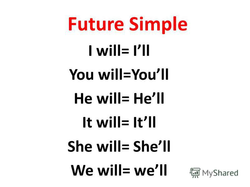 Future Simple I will= Ill You will=Youll He will= Hell It will= Itll She will= Shell We will= well