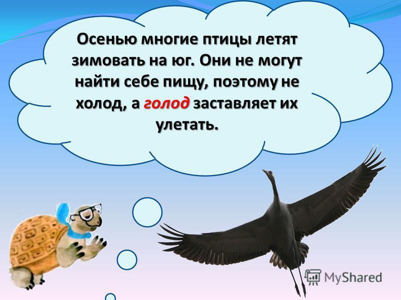 Осенью многие птицы летят зимовать на юг. Они не могут найти себе пищу, поэтому не холод, а голод заставляет их улетать. Осенью многие птицы летят зимовать на юг. Они не могут найти себе пищу, поэтому не холод, а голод заставляет их улетать.