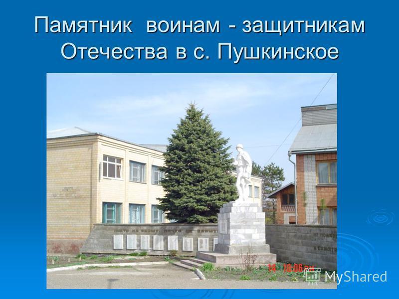 Памятник воинам - защитникам Отечества в с. Пушкинское