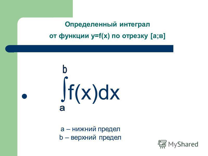 Определенный интеграл от функции y=f(x) по отрезку [а;в] f(x)dx а – нижний предел b – верхний предел