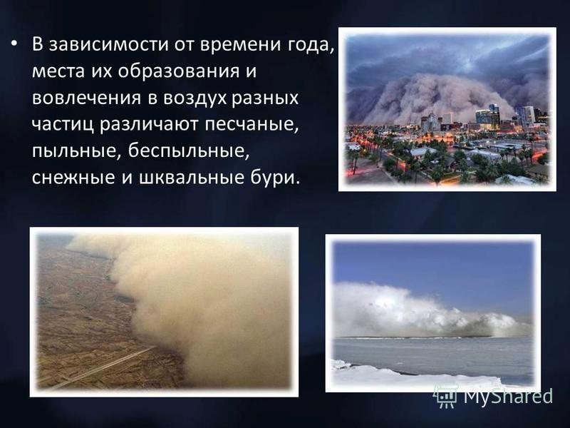 В зависимости от времени года, места их образования и вовлечения в воздух разных частиц различают песчаные, пыльные, беспыльные, снежные и шквальные бури.