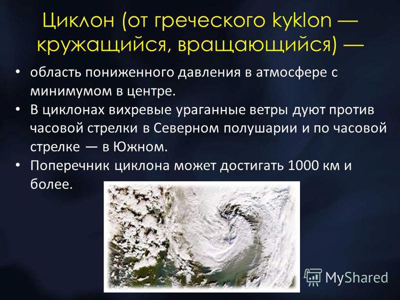 Циклон (от греческого kyklon кружащийся, вращающийся) область пониженного давления в атмосфере с минимумом в центре. В циклонах вихревые ураганные ветры дуют против часовой стрелки в Северном полушарии и по часовой стрелке в Южном. Поперечник циклона