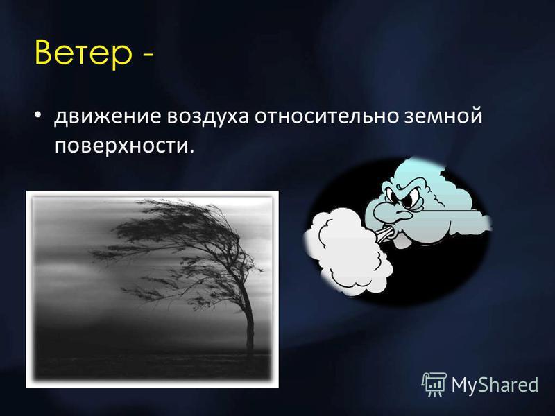 Ветер - движение воздуха относительно земной поверхности.