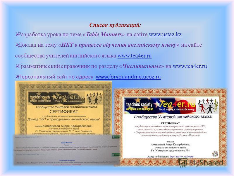 Список публикаций: Разработка урока по теме «Table Manners» на сайте www.ustaz.kzwww.ustaz.kz Доклад на тему «ИКТ в процессе обучения английскому языку» на сайте сообщества учителей английского языка www.tea4er.ruwww.tea4er.ru Грамматический справочн