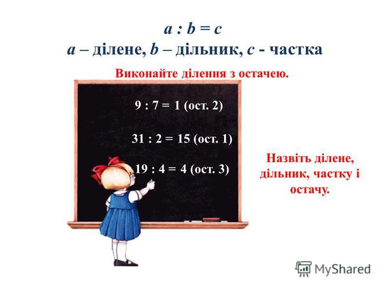 a : b = c a – ділене, b – дільник, c - частка Виконайте ділення з остачею. 9 : 7 = 31 : 2 = 19 : 4 = Назвіть ділене, дільник, частку і остачу. 1 (ост. 2) 15 (ост. 1) 4 (ост. 3)