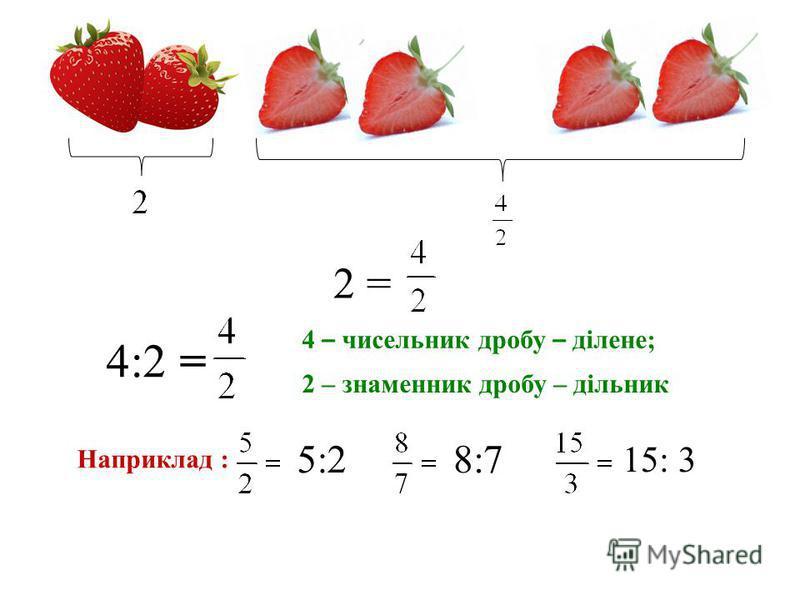 2 = 4:2 = 4 – чисельник дробу – ділене; Наприклад : 5:28:7 15: 3 2 – знаменник дробу – дільник
