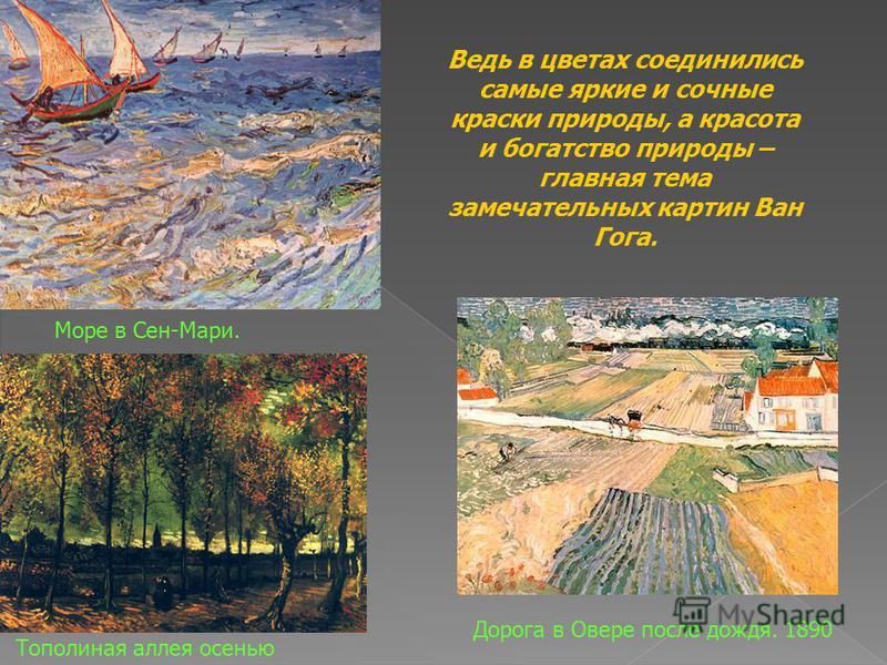 Море в Сен-Мари. Тополиная аллея осенью Дорога в Овере после дождя. 1890 Ведь в цветах соединились самые яркие и сочные краски природы, а красота и богатство природы – главная тема замечательных картин Ван Гога.