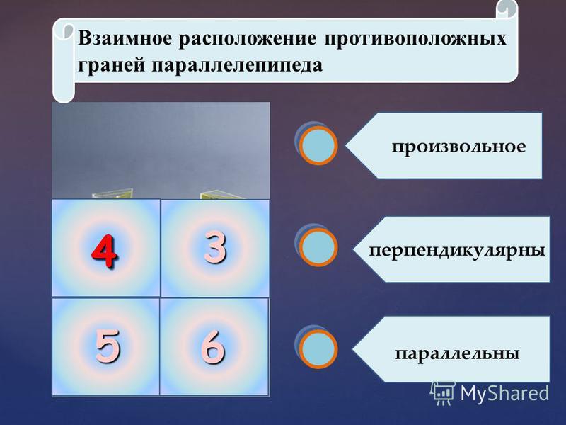 44 Взаимное расположение противоположных граней параллелепипеда перпендикулярны произвольное параллельны