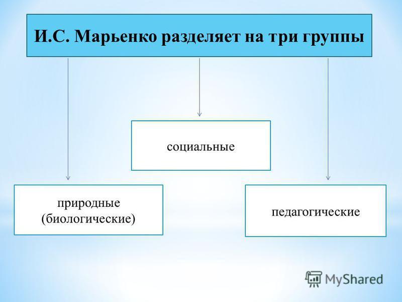 И.С. Марьенко разделяет на три группы природные (биологические) социальные педагогические И.С. Марьенко разделяет на три группы