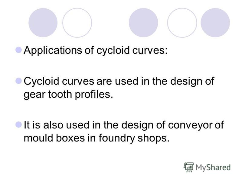 Applications of cycloid curves: Cycloid curves are used in the design of gear tooth profiles. It is also used in the design of conveyor of mould boxes in foundry shops.