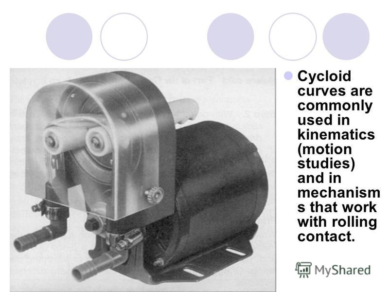 Cycloid curves are commonly used in kinematics (motion studies) and in mechanism s that work with rolling contact.