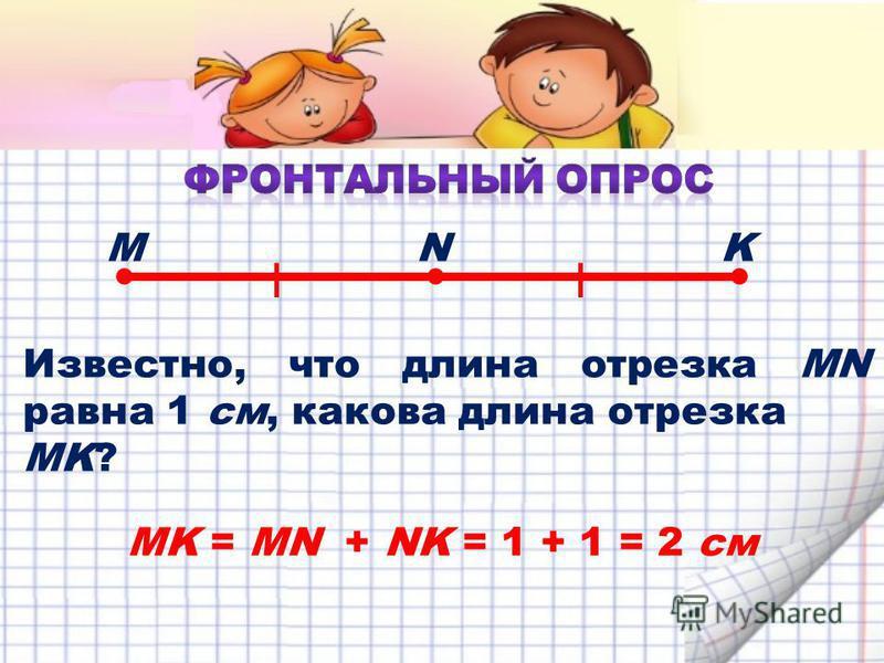 Известно, что длина отрезка MN равна 1 см, какова длина отрезка MK? MNK MK = MN + NK = 1 + 1 = 2 см
