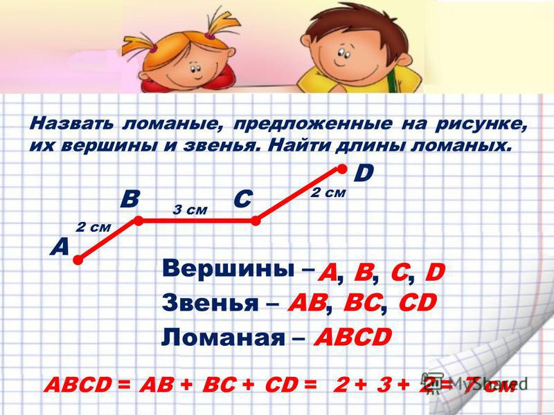 Назвать ломаные, предложенные на рисунке, их вершины и звенья. Найти длины ломаных. СВ D А ABCD = AB + BC + CD = 2 + 3 + 2 = 7 см 2 см 3 см 2 см Вершины – А, В, С, D Звенья –АB, ВC, СD Ломаная –АBСDАBСD