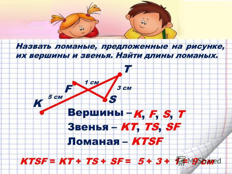 Назвать ломаные, предложенные на рисунке, их вершины и звенья. Найти длины ломаных. S F T K KTSF = KT + TS + SF = 5 + 3 + 1 = 9 см 5 см 1 см 3 см Вершины – K, F, S, T Звенья –KT, TS, SF Ломаная –KTSF